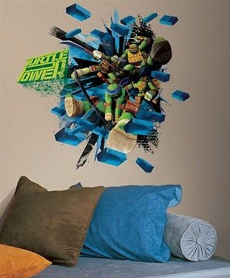 Giant Teenage Mutant Ninja Turtles Brick Wall Decal TMNT Kids Room Décor  - Teenage Mutant Ninja Turtles Room Decor