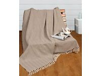 100% Natural Cotton Two Tone Herringbone Sofa Arm Chair Bedspread Settee Throw - Super Giant Size