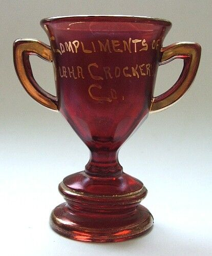 Antique OMAHA CROCKERY Co. souvenir RUBY RED and GOLD glass trophy CUP