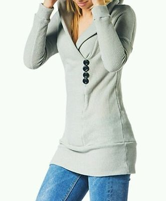 Cupshe Gray Waffle Knit Hooded Tunic Sweater Size Xl