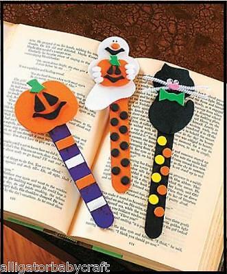 Halloween Bookmark Craft (Set of 3 Halloween Bookmark Craft Kits Pumpkin Ghost Cat Kids School)
