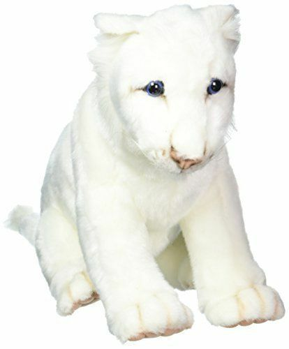 """Hansa White Lion Cub Plush Toy 10"""" High Very Realistic Detailed, Soft Squeezable"""