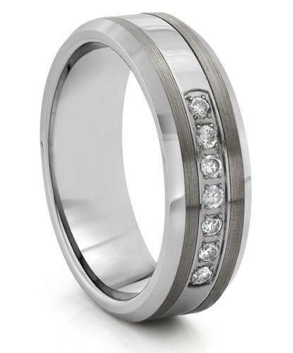 Mens Tungsten Wedding Bands With Diamonds Ebay
