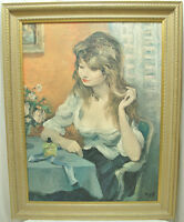Beautiful Framed Print on Canvas Young Woman