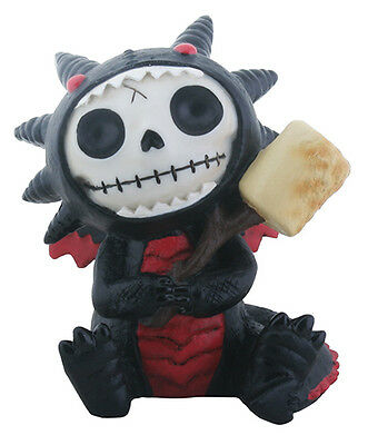 Furrybones Black Scorchie Skeleton in Dragon Costume with Marshmallow Figurine