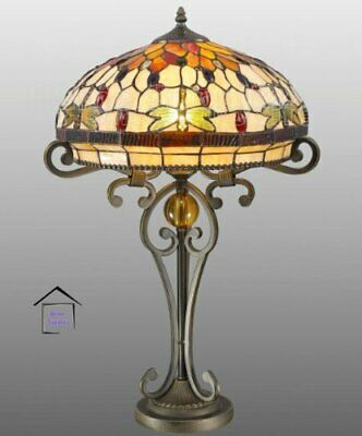 Dragonfly Tiffany Style Glass Handcrafted Large Table Lamp 16 inches Wide