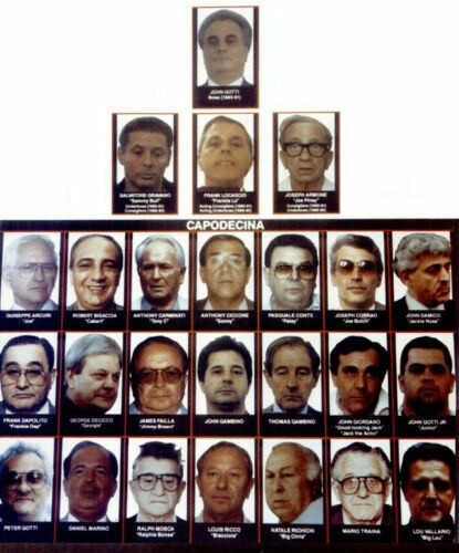 JOHN GOTTI WANTED POSTER 8.5X11 PHOTO MAFIA FAMILY CHART TREE MOBSTER GANGSTER
