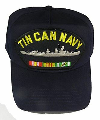 USN TIN CAN NAVY VIETNAM VETERAN HAT CAP SAILOR DESTROYER W/ CAMPAIGN RIBBONS