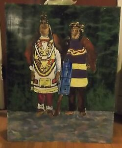 Native Oil on Press Board Painting