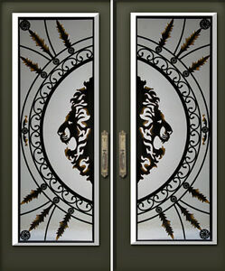 WROUGHT IRON & STAIN GLASS DECORATIVE INSERTS