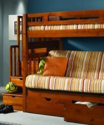 Ryan Honey Bunk Bed with Futon, Stairs, and Storage Bunk Bed Honey