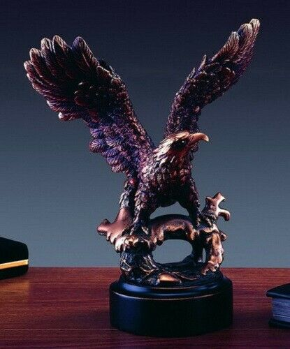 "New 8"" Perched American Eagle Bronze Color Finish Sculpture Statue Patriotic"