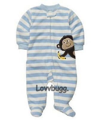 """Stripes Monkey Sleeper for 15""""- 18"""" Bitty Baby Doll Clothes  or Preemie"""