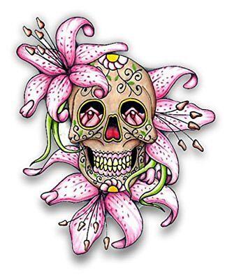 Sugar Skull w/Flowers vinyl sticker for skateboard luggage laptop tumblers - Skull Flowers
