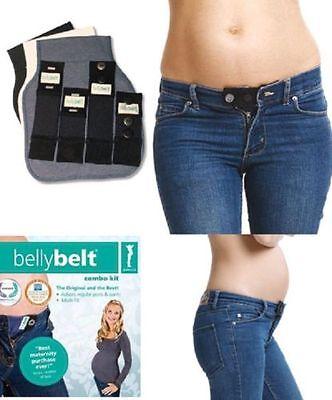 Maternity Belly Belt 7 Pc Combo Kit Cotton Blk Pregnancy Extender - Pant & Jean