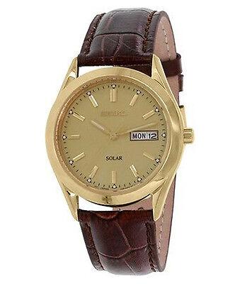 Seiko Men's SNE052 Solar Gold Dial Brown Leather Quartz Date Watch NEW
