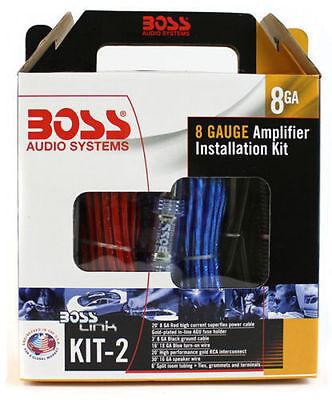 NEW BOSS KIT2 8 Gauge Complete Car Amplifier Wiring Kit 8 Ga Wire Amp KIT-2