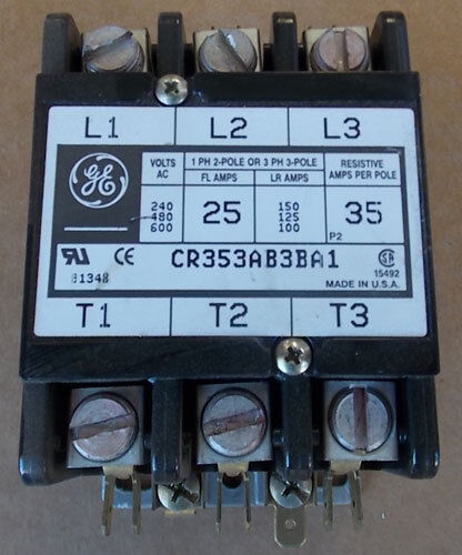 General Electric CR353AB3BA1 3P 25A 120V Coil Magnetic Contactor Used