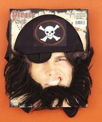 Beard And Bandana (Pirate Eye Patch Beard and Bandanna Headpiece Costume Set Accessory)