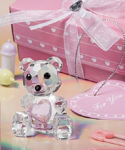 1 x Crystal Teddy Bear with Pink Heart - Gift for Baby Showers, Christening etc