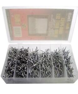 1000PC BLIND RIVETS SET ASSORTED HAND RIVET POP ALUMINIUM HEAD STEEL SHANK 4 SIZ