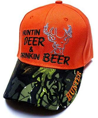 4f8ddd20713c2 Hunting Deer   Drinking Beer Two Tone Camo Bill Blaze Orange Hat Cap Hunter