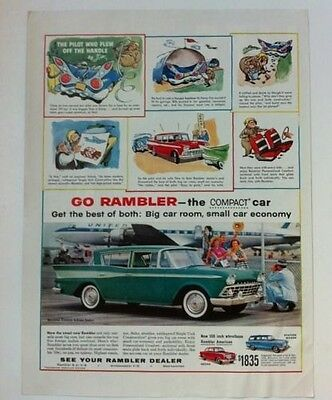 "1959 AMC Rambler Zsa Zsa Gabor ORIGINAL 10x13"" AD - Great Garage Decor"