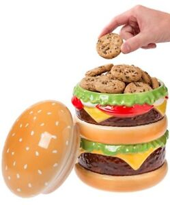 Big Mouth Double Cheeseburger Ceramic Cookie Jar Novelty