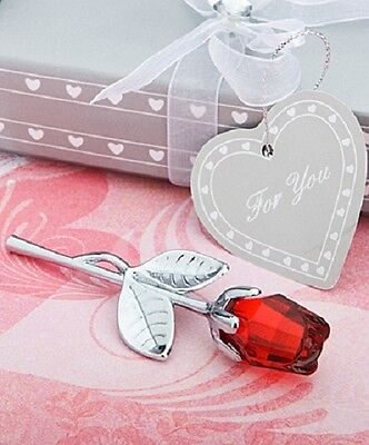 1 x Crystal Red Long Stem Rose Favour - Wedding and Party Favours - NEW