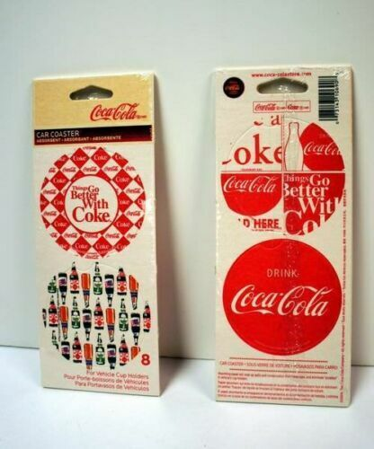 Coca-Cola Vehicle Cup Holder Coasters-Set of 8 NEW SEALED