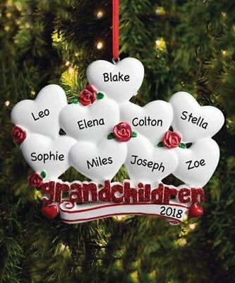 Christmas Personalized Ornaments (CHRISTMAS GIFT NAME PERSONALIZED 2018 Grandchildren Family of 2 to 9)