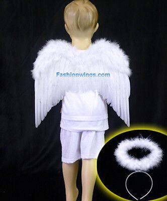 FashionWings Toddlers Unisex White Costume Feather Angel Wings Headband - Costume Angel Halo