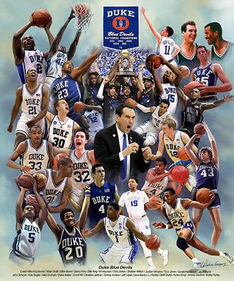 Basketball Poster Print (Duke Blue Devils Basketball 26 LEGENDS Historic Commemorative Art Poster)