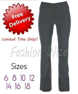 Ladies-Girls-Black-Bootleg-Work-Trousers-Sizes-6-18-Stretch-Hipster-Selfstripe