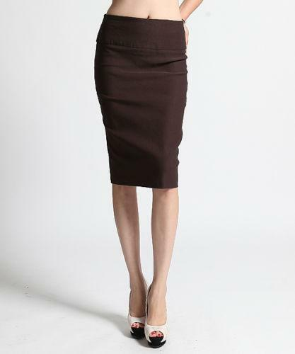 brown stretch pencil skirt ebay