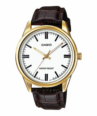 NEW Casio MTP-V005GL-7A Men's Analog Watch BROWN Leather Water Resist WHITE Dial