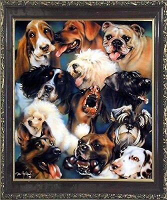 Collage of Dogs Breeds Cute Animal Kids Room Wall Decor Art Print Framed Picture