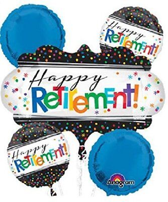Officially Retired Balloon Happy Retirement! Favor 5CT Foil Balloon Bouquet