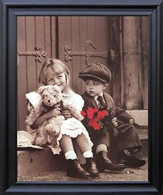 Cute Movie Couples (Sunday Best Cute Kids Couple Valentine with Teddy Retro And Roses Framed)