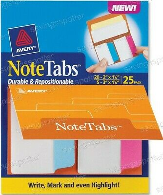 Avery Notetabs Books 2 3 X 1.5 Note Tabs Neon Magenta Blue Pastel Yellow 25