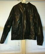 Mens Brown Leather Jacket Large