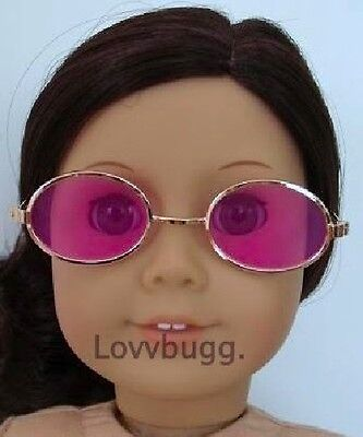 "Lovvbugg Pink Oval Sun Glasses for 18"" American Girl Doll Accessory"