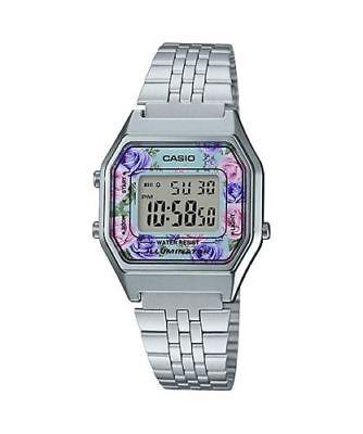 NEWEST Casio LA680WA-2C Women Mid-Size Silver Digital Retro Vintage Watch FLORAL