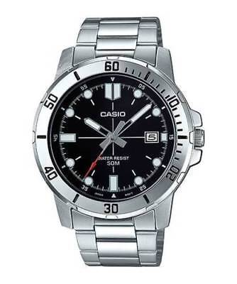 NEWEST Casio MTP-VD01D-1EV Men's Stainless Steel BLACK Dial Casual Watch Date WR