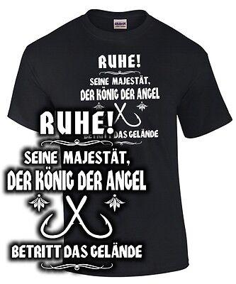 König Lustig T-shirt (T-Shirt SEINE MAJESTÄT DER KÖNIG DER ANGEL Angler Spruch lustig Angeln Fischen)