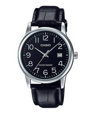NEW Casio MTP-V002L-1B Men's Analog Watch BLACK Leather Band Date