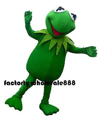 Halloween Kermit the Frog Mascot Costume Adults Fancy Dress free fast shipping