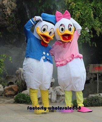 Disney Donald & Daisy Duck Mascot Costume Parade Party Game Dress Adults Outfit (Daisy Duck Costume Adults)