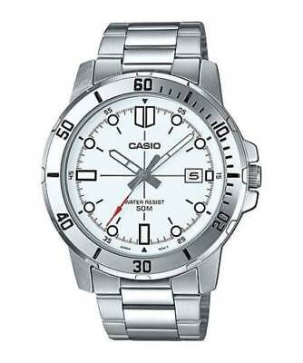 50m White Dial Watch (NEW Casio MTP-VD01D-7E Men's Stainless Steel Bracelet Watch WHITE Date Dial 50M )