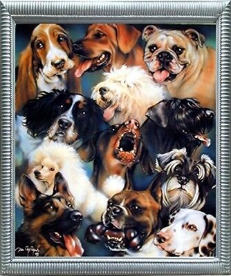Collage of Dogs Breeds Cute Animal Kids Room Wall Decor Silver Framed Picture